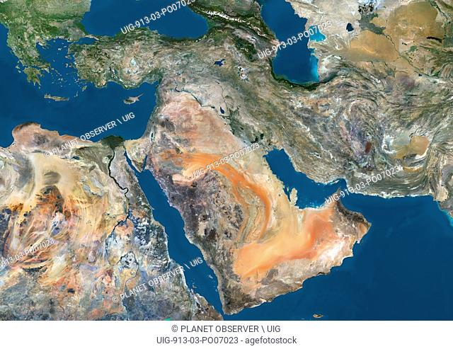 Satellite view of the Middle East. This image was compiled from data acquired in 2014 by Landsat 8 satellite