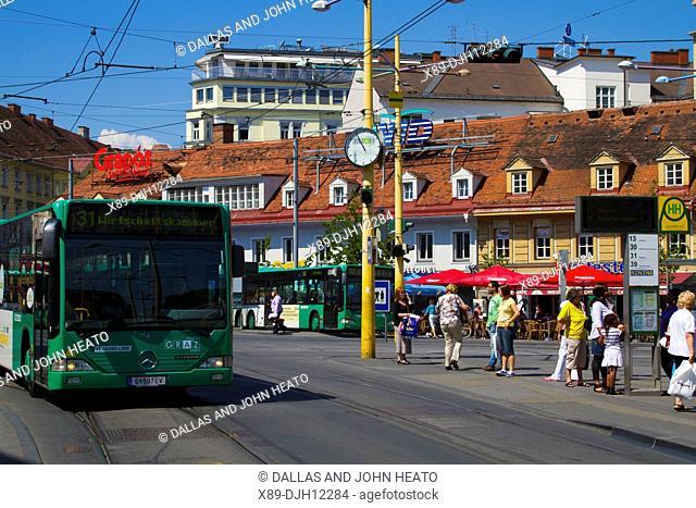 Austria, Styria, Graz, Jakominiplatz, Bus