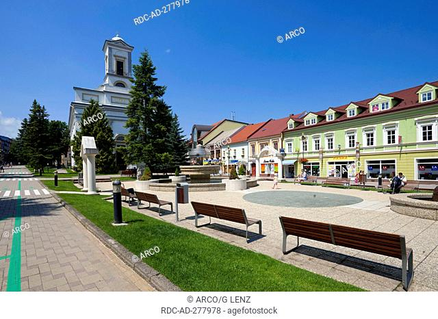 Protestant church, Square Namestie sv. Egidiak, quarter Spisska Sobota, Poprad, Slovakia