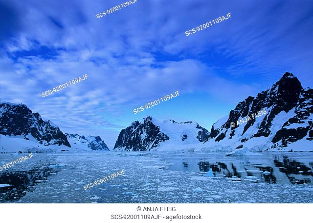 Early morning scenery of the Antarctic Peninsula Region Lemaire Channel, Antarctic Peninsula, Antarctica