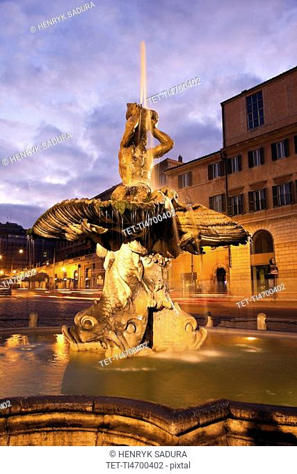 Piazza Barberini, Fountain of the Triton in early morning