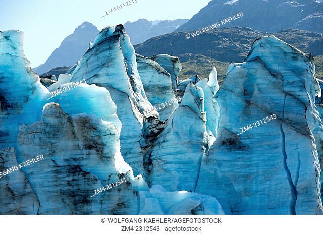 View of crevasses at the glacier face of Lamplugh Glacier in Johns Hopkins Inlet in Glacier Bay National Park, Southeast Alaska, USA