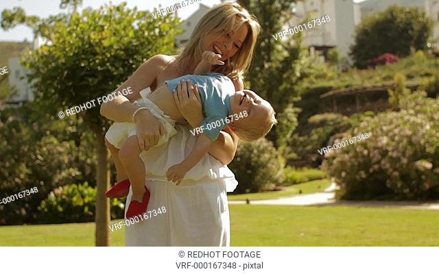 Medium shot of mother and toddler playing, Benhavis, Marbella region, Spain