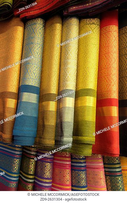 Silks for sale in a Yangon shop
