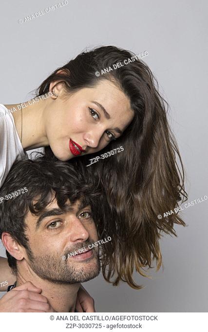 Couple portrait studio shot white background