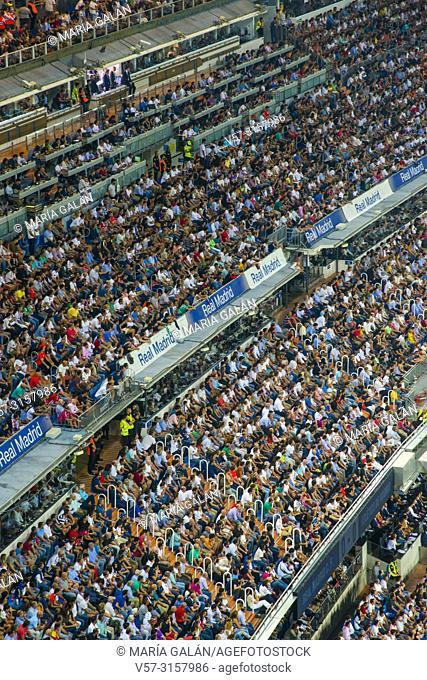 Spectators in Santiago Bernabeu stadium. Madrid, Spain