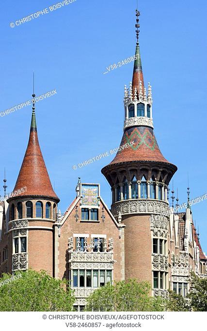 Spain, Catalonia, Barcelona, Casa de les Punxes, also called Casa Terrades, build by architect Josep Puig i Cadafalch (1905)