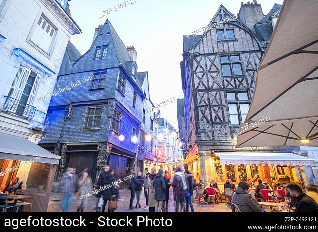 Tours France on December 28, 2019: Medieval buildings at Plumereau square ( Place Plumereau ). Tours. France