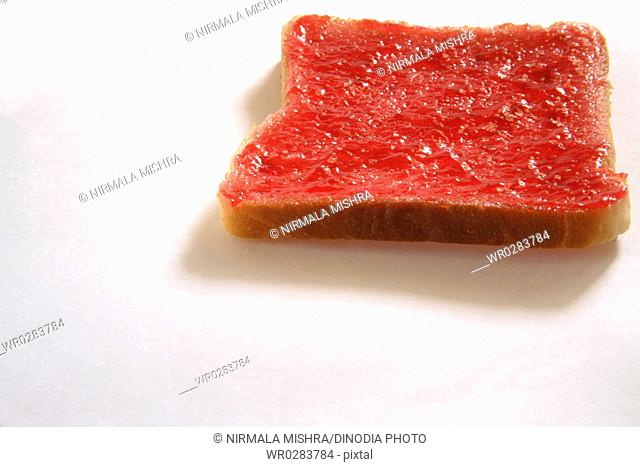 Breakfast food , bread Jam on white background