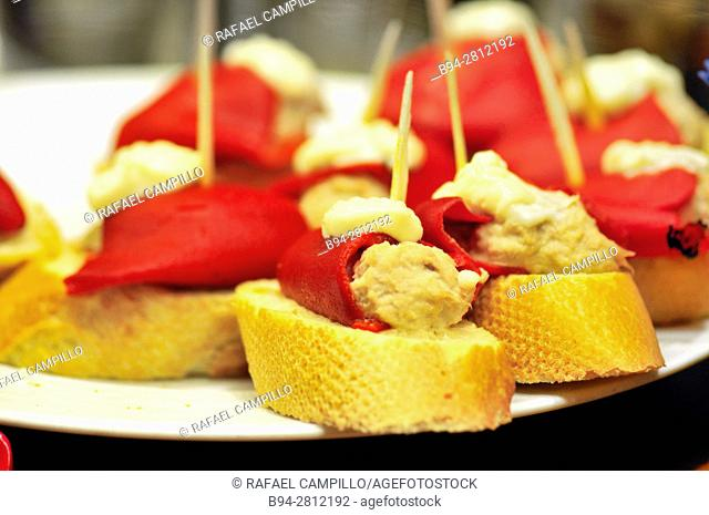 Stuffed red peppers. Pintxos or Tapas. Food very Typical in the Basque country. San Sebastián (Donostia), Gipuzkoa, Basque Country, Spain