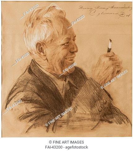 Portrait of Mikhail Alexandrovich Sholokhov by Rebrov, Yuri Petrrovich (1929-2002)/Sanguine, colored pencil, pastel on paper/Realism/1984/Russia/M