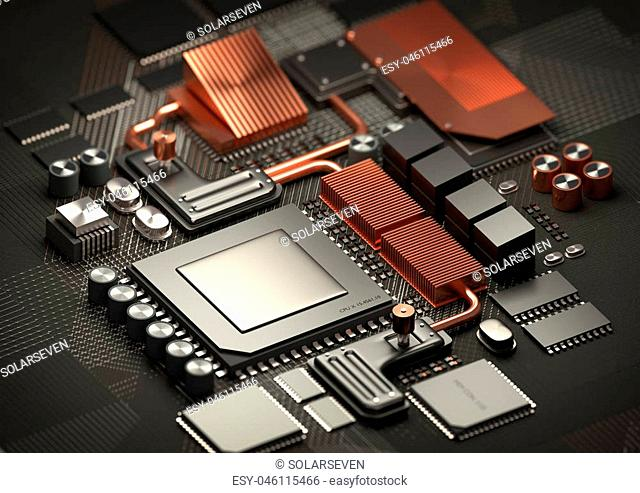 Modern Technology background.A close look at a performance computer CPU on a motherboard for processing data. 3D illustration render