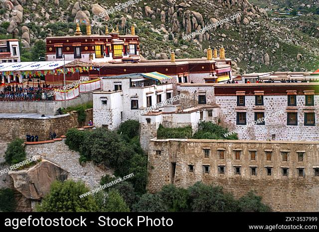 Lhasa Drepung Monastery Shoton festival or Shodon Festival with the unrolling of the huge thangka, a silk painting depicting Buddha Lhasa Tibet