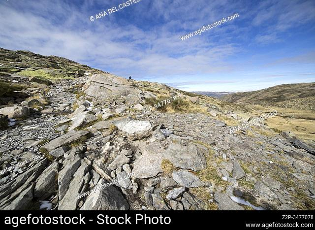 Gredos mountains way from the platform to the lake Avila Castile Leon Spain