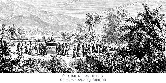 Laos: A funeral is held for a Laotian aristocrat in Champasak, southern Laos, as illustrated by French expeditioner Louis Delaporte in 1866