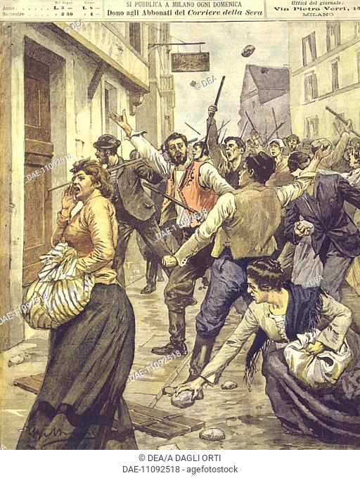 History, 19th century - Anti-Semitic uprisings in Moravia. Cover illustration from La Domenica del Corriere, Sunday supplement to Italian daily newspaper Il...