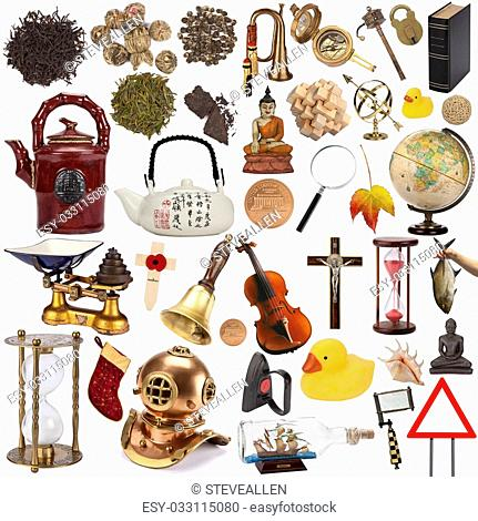 A selection of objects for cutout - Isolated on white background
