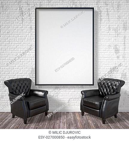 Blank picture frame with black armchairs. Mock up poster. 3D render illustration