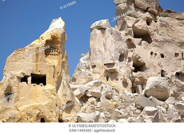 rock homes, cavusin village, landscape, cappadocia, anatolia, turkey, asia