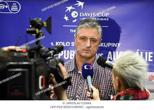 Captain of the Czech Republic Davis Cup team Jaroslav Navratil speaks during a press conference before the first round of tennis Davis Cup World Group in...