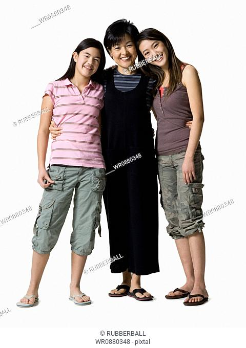 Portrait of a mother and her two daughters