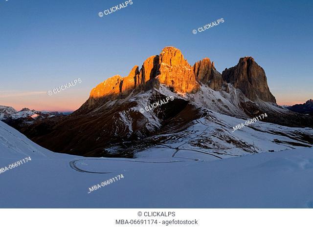 Europe,Italy,Dolomites,Bolzano district,Alto Adige. Sassolungo at sunrise