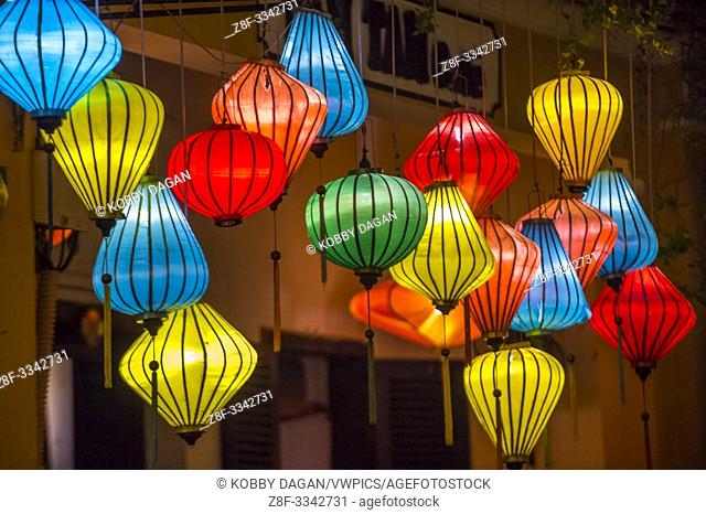 Paper lanterns lighted up on the streets of Hoi An , Vietnam during the Hoi An Full Moon Lantern Festival