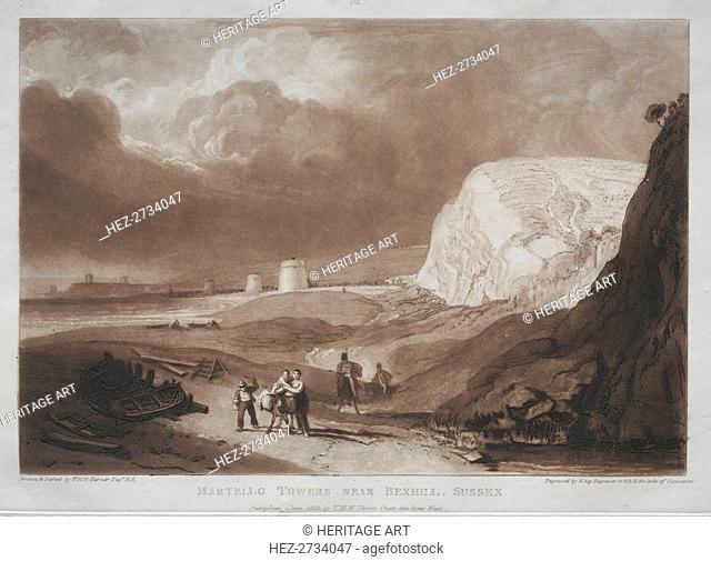 Liber Studiorum: Martello Towers, near Bexhill, Sussex. Creator: Joseph Mallord William Turner (British, 1775-1851)