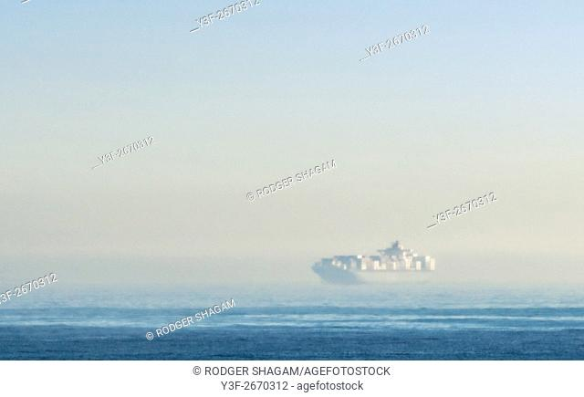 A container ship looms in the mist