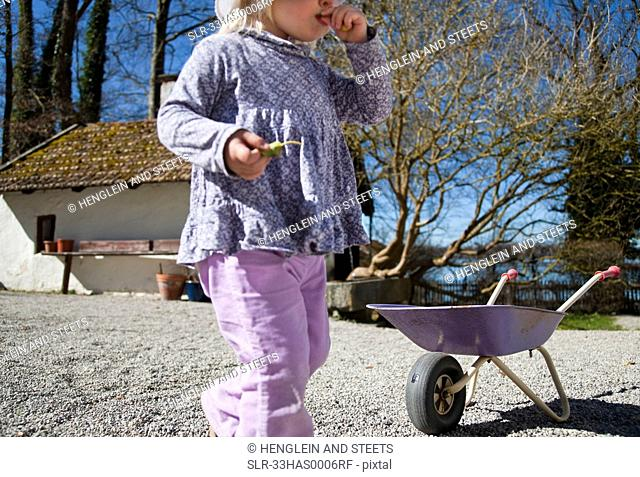 Girl playing with wheelbarrow