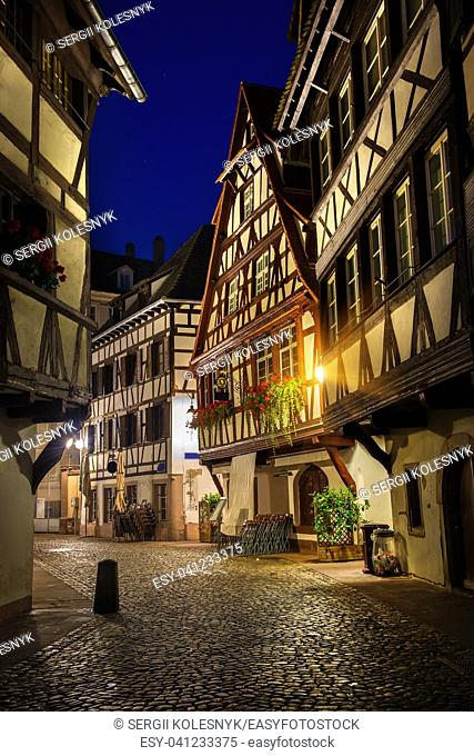 Cafes on street of Strasbourg in the night, France