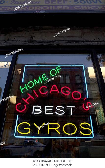 Neon sign advertising Gyros, Greektown, Chicago, Illinois, USA