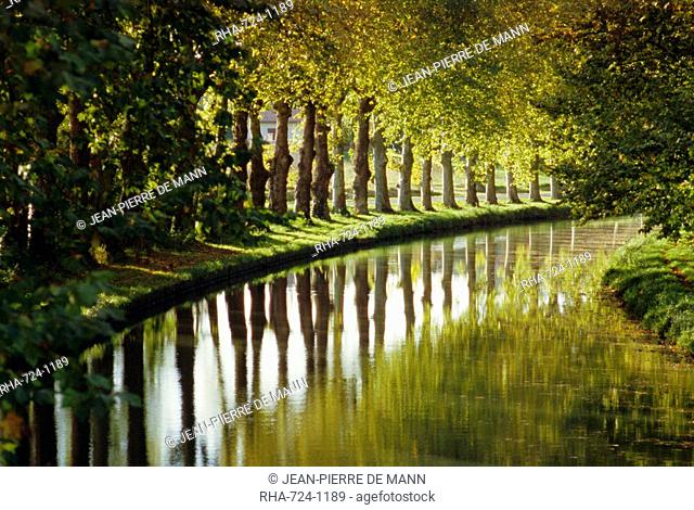 The bank of the Hure, Canal Lateral a la Garonne, Gironde, Aquitaine, France, Europe