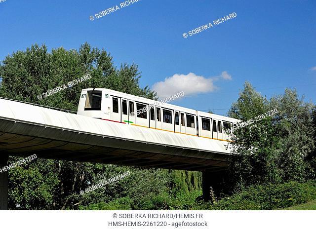 France, Nord (59), Villeneuve d'Ascq, Lille Metro (Lille Underground) also called VAL (in fench : véhicule automatique léger)