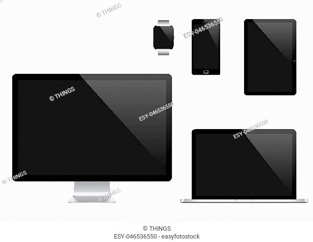 Vector set of Modern Digital devices. Computer monitor, laptop, tablet pc, mobile phone and smart watch. Isolated on transparent background