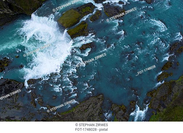 Aerial view of waterfall, Goðafoss, Iceland