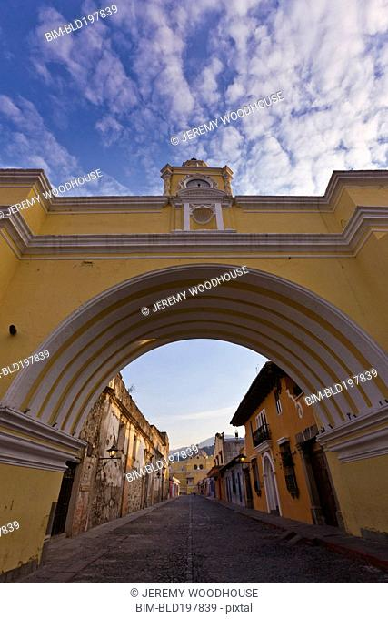 Arch and street in quaint town