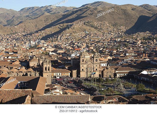 View from above to the Cathedral of Cusco and Iglesia De La Compania De Jesus-La Compania De Jesus Church at Plaza de Armas Square and to the buildings in the...