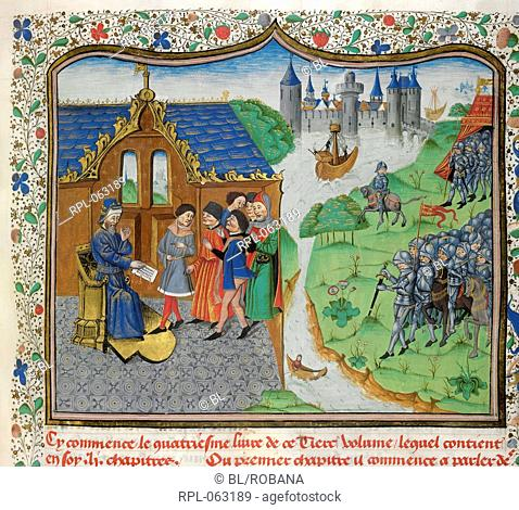 Langley and the King of Portugal Miniature Edmund Langley remonstrates with the King of Portugal. Image taken from Chronique d' Angleterre Volume III