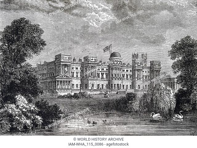 Engraving depicting Buckingham Palace from the Garden Front. Dated 19th century