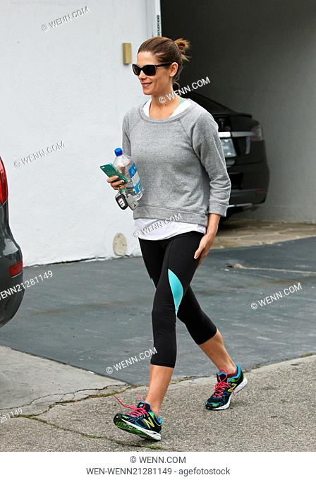 Ashley Greene leaving her gym in her lycra sportswear and a grey sports top carrying a bottle of Fiji water Featuring: Ashley Greene Where: Los Angeles