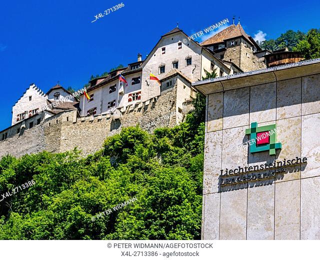 Bank building of Liechtensteinische Landesbank in front of the castle of Vaduz, Principality of Liechtenstein, Europe