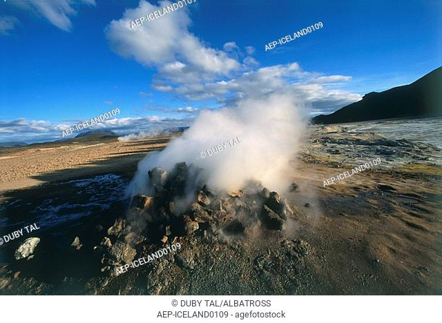 Photograph of the steaming geysers of Iceland
