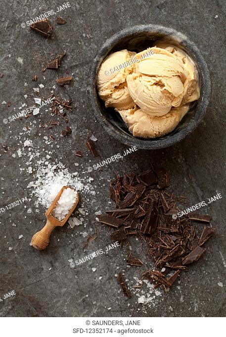 Salted caramel ice cream with chocolate and sea salt