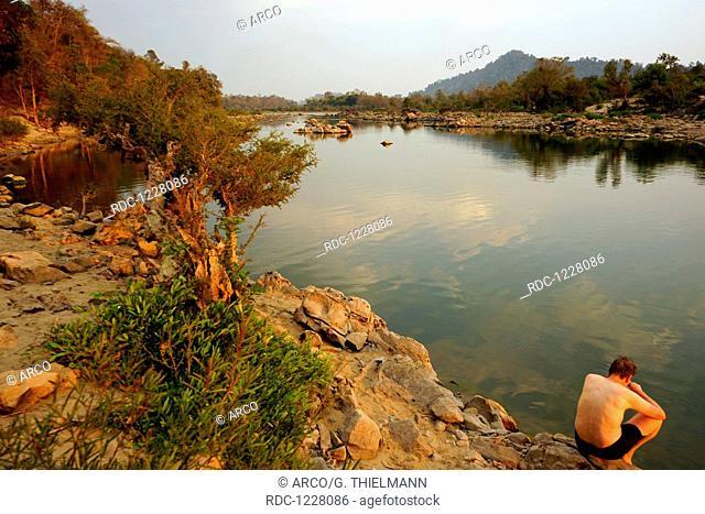Sunset, Bank of the Mekong River, Don Khon, Si Phan Don, 4000 Islands, Mekong River, Southern Laos, Laos