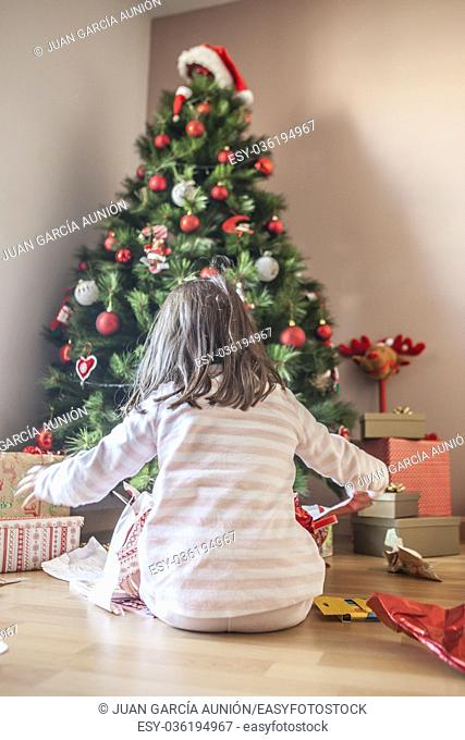 Little girl opening their gifts under Christmas tree early in the morning. She is illuminated by morning natural light
