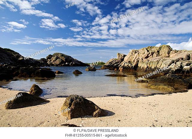View of rocky beach, Fidden, Isle of Mull, Inner Hebrides, Scotland, August