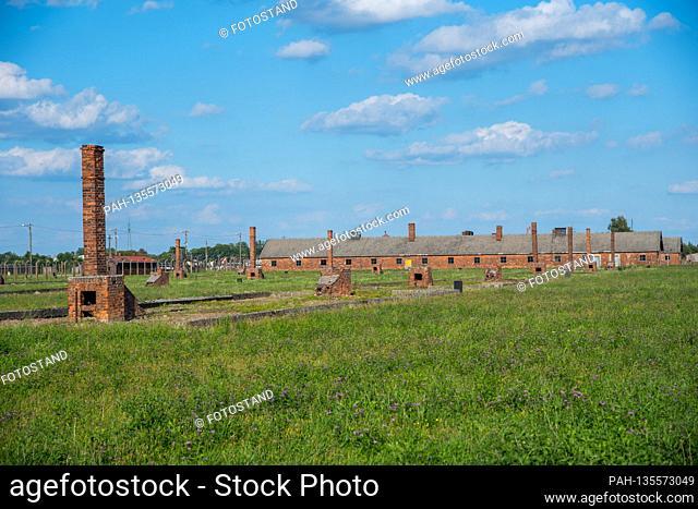 Auschwitz, Poland August 25, 2020: Auschwitz-Birkenau concentration camp - August 25, 2020 exterior view,   usage worldwide