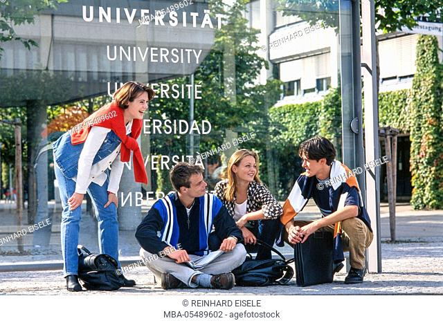 Students in front of university building