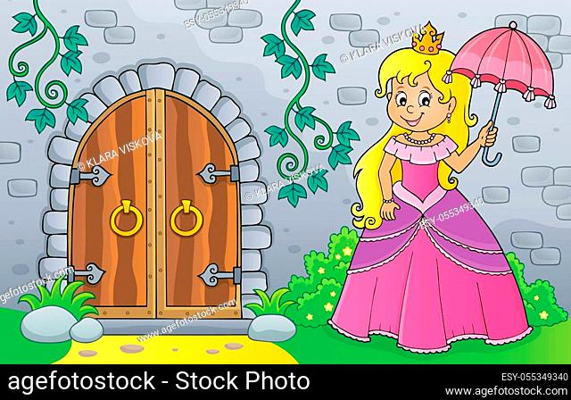 Princess with umbrella by old door - picture illustration